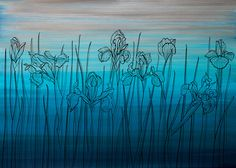 wallpaper IRIS FIELD - DAY Field Day, Iris, Sunrise, Night, Wallpaper, Artwork, Painting, Work Of Art, Auguste Rodin Artwork