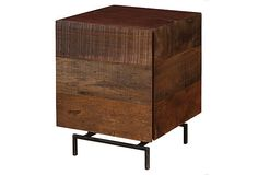 """South American demolition wood side table madew of peroba/iron.  19.75""""W x 19.75""""D x 25.5""""H"""