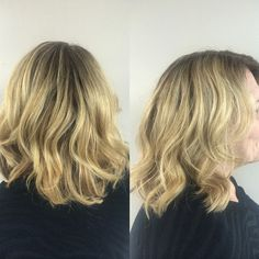 long bob, blushing balayage with full blended rooty effect. tousled finish
