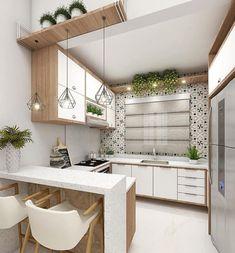 Cozinha compacta com muita funcionalidade. Arraste para o lado e veja os detalhes. Kitchen Bar Design, Pantry Design, Home Decor Kitchen, Interior Design Living Room, Modern Kitchen Interiors, Apartment Interior Design, Cuisines Design, Küchen Design, Home Decor Furniture