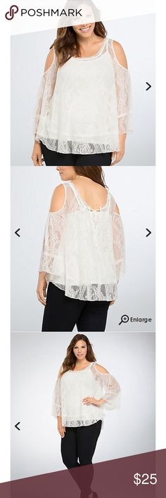 """Lace Cold Shoulder Top See-through ivory lace top. Bell sleeves, a ruffled hem and keyhole tie back. Length 26"""". Torrid size 2 (18-20) Armpit 26"""". Price firm. No  Trades torrid Tops"""