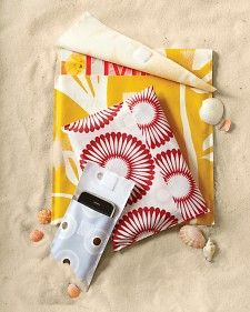Beach Coverups for almost anything. Stitch pouches in just the sizes you need to protect beach reads, your phone, and other gear from splashes and sunblock spatters. Start by choosing from a bunch of different mod oilcloth patterns. Cut a rectangle of oilcloth as wide as the object you want to hold, plus 1/2 inch for seams, and 2 1/4 times its height (for a horizontal pouch, flip these dimensions). Fold to form a pocket shape with right side facing outward, stitch up the edges, and then add…