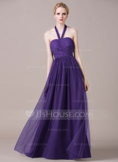 A-Line/Princess Halter Floor-Length Tulle Lace Bridesmaid Dress With Ruffle (007059454)