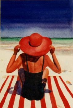 Red+Hat+at+the+Beach,+painting+by+artist+Kay+Smith
