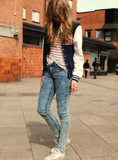 Letterman jacket & subtle acid wash jeans