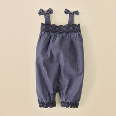 newborn - girls - dresses & rompers - chambray romper | Children's Clothing | Kids Clothes | The Children's Place