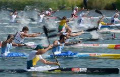 Competitors take part in the kayak double (K2) 200m men's canoe sprint final at Eton Dorney