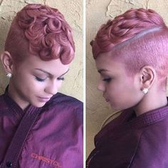 60 Cute Short Haircuts For Black Women Curly Hair Styles, Natural Hair Styles, Cute Short Haircuts, Sassy Hair, Pin Curls, Short Hair Cuts, Short Pixie, Pixie Cuts, Hair Dos