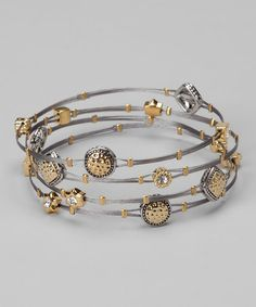 Take a look at this Silver & Gold Hammered Charm Bracelet Set by Regal Jewelry on #zulily today!