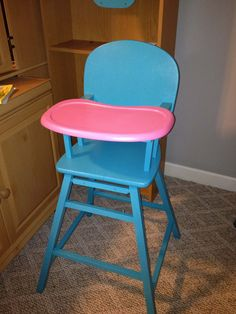 Southern Revivals: A Truly 'High' Chair ~ Fit for a Birthday Girl. Aqua and pink painted wooden high chair.