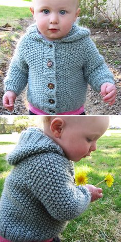 Knitting Pattern for Manda Ruth Baby Hooded Cardigan - This baby hoodie sweater is knit from the top down and is virtually seamless. Designed by Jane Richmond Baby Boy Cardigan, Knitted Baby Cardigan, Knit Baby Sweaters, Baby Pullover, Hooded Sweater, Hooded Jacket, Boys Knitting Patterns Free, Baby Cardigan Knitting Pattern Free, Baby Sweater Patterns