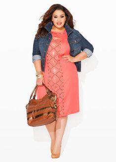 Ashley Stewart Plus Size Studded Keyhole Sweater Dress, Denim Jacket valentines day style #UNIQUE_WOMENS_FASHION