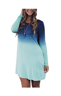 ARJOSA Women's Blue Gradient Round Neck Long Sleeve Midi Casual Loose Dress