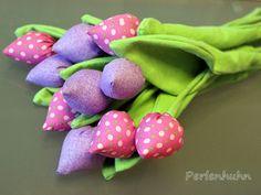 Perlenhuhn: Genähte Tulpen - Anleitung