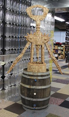 Upcycled Wine Cork Opener Sculpture