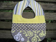 Bicycles Quilted Baby Bib //  Gray and Yellow by TakeMeThereTotes, $7.00