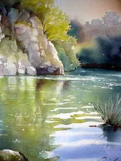 by Jean Claude Papeix Watercolor Water, Watercolor Landscape Paintings, Watercolor Trees, Watercolor Artists, Watercolor Artwork, Watercolor Painting Techniques, Painting & Drawing, Watercolor Pictures, Painting Inspiration