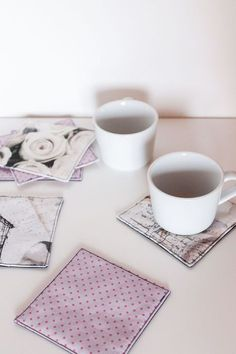 DIY idea: sew coasters - ideal for learning to sew - Miss Rosi Source by Design Your Dream House, Upcycled Home Decor, Idee Diy, I Cool, Knitted Headband, Learn To Sew, Display Case, Diy And Crafts, Coasters
