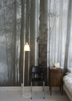 Gorgeous otherworldly forest mural. Love the neutral colors of this one. so that you arent limited to just green or the forest colors