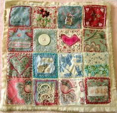 Items similar to Recycled Linens: Charm Pack Art Quilt Flowers Buttons Hearts and Stitching on Etsy Art Textile, Textile Artists, Small Quilts, Mini Quilts, Quilting Projects, Sewing Projects, Inchies, Creative Textiles, Embroidered Quilts