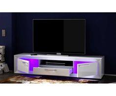 Meuble TV design avec LED - Meuble design blanc #meubletele #mubletv Tv Cabinet Design, Tv Wall Design, Tv Design, Glass Bedroom Furniture, Tv Furniture, Armoire Tv, Bed Frame With Storage, Living Room Tv, Tv Cabinets