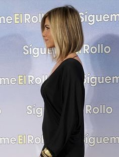 Jennifer Aniston long bob side view--- good choice for don't want a lot of fuss but still want style.