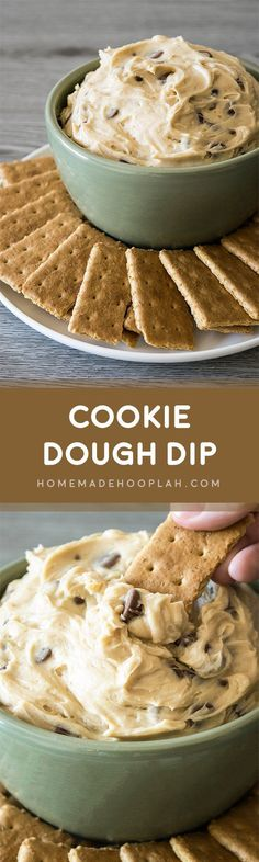 Cookie Dough Dip! Dazzle your guests by serving up dessert first with this ultra creamy cookie dough dip (eggless and no bake!) | HomemadeHooplah.com