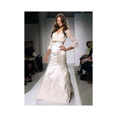 Long Sleeved V-Neck Sash Winter Satin Wedding Gown - Star Bridal Apparel