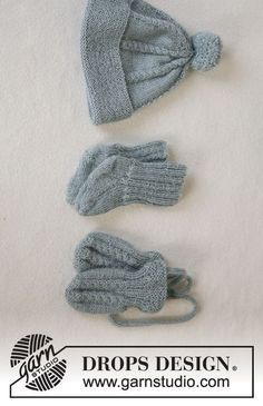 Lille trille / DROPS baby - free knitting patterns by DROPS design Jacket with round yoke and cable pattern, hat with pompoms, gloves and socks in alpaca and rattle in nutmeg or saffron. How To Start Knitting, Knitting For Kids, Knitting Socks, Free Knitting, Knitted Hats, Baby Knitting Patterns, Baby Patterns, Drops Design, Easy Knit Hat
