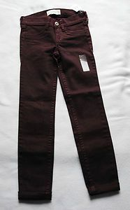 Girls abercrombie Kids Burgundy Red Jeans Size10 Slim New withTags Free Shipping Starting Bid $19.99