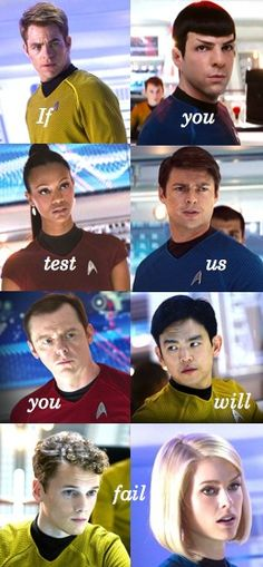 Star Trek Into Darkness: Jim, Spock, Nyota Uhura, Bones, Scotty, Hiraku Sulu, Pavel Chekov, & Carol