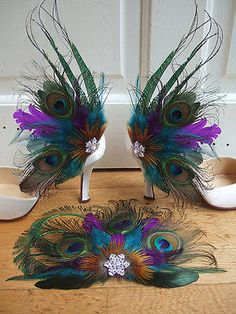 Bridal Bridesmaids Curled Peacock Feathers Cluster and Crystal Brooch Teal Purple Clip Fascinator Wedding Ideas Bride Bridesmaid Peacock Shoes, Peacock Theme, Peacock Wedding, Purple Shoes, Peacock Dress, Peacock Colors, Peacock Design, Peacock Crafts, Feather Crafts
