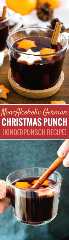 This German Christmas Punch (Kinderpunsch) is the perfect beverage to serve at your winter celebrations! Hot mulled grape juice is flavored with Christmas spices making it the perfect non-alcoholic beverage for the holidays that everyone can enjoy. #christmasrecipes #grapejuice #holidayparty