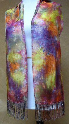 Handpainted Silk Habotai Scarf Wrap Multi colored by silkworth, $39.00