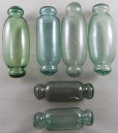 ....3 Japanese Diff Size ROLLING PIN Glass Floats Vintage Alaska Beach Combed