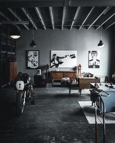 Funtastic Industrial Living Room Decoration Ideas to Make Happy Guest Design Garage, Loft Design, House Design, Room Interior, Interior Design Living Room, Industrial Living, Industrial Interiors, Interior Architecture, Man Cave