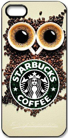 Specially Design Starbucks Coffee Iphone 5 5S With Owl Background Hard Case Cover