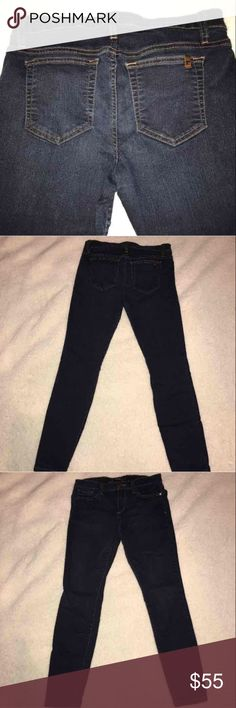 Joes Jeans Ankle Skinny Sz 29 Authentic pre owned Joes jeans, originally purchased at Nordstrom. Ankle skinny, size 29. Dark blue wash Style: KEKE Measurements Waist 15 Hip 16 Inseam 26 Leg opening 4.5 Rise 9  Price is firm Joe's Jeans Jeans Skinny