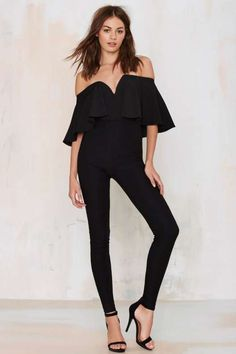 You Frill Me Plunging Jumpsuit