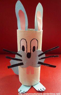 Petit lapin de pâques avec un rouleau de papier wc, explications sur mon blog