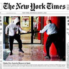 Las protestas en Barcelona están en la tapa del New York Times. Jueves 1ro. de marzo 2012