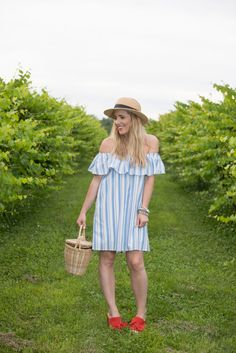 4th Of July Outfit // Blue and White Stripe Off the Shoulder Dress