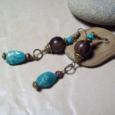 JEWELRY SALE with coupon code 25HOLIDAYS for 25% off on all Handmade Natural Semi Precious Gemstone Jewelry http://www.riverpebblestonewear.com  - AMAZON- Earrings with Tiger Ebony Beads and Russian Amazonite