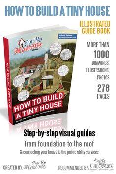 How to Build a Tiny House book with Over 1000 illustrations and 276 pages of step-by-step instructions. Learn how to fix things in your small house and how to choose the most suitable material for building your small house Unique Small House Plans, Micro House Plans, Small Cabin Plans, House Plan With Loft, Small House Floor Plans, The Plan, How To Plan, Building A Tiny House, A Frame House