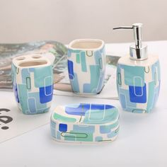 Material: High Quality CeramicType: Four-piece Set comprising of 1 Soap Dispenser 1 Toothbrush Holder 1 Tumbler and a Soap Dish Eco-FriendlyStyle: ModernPackage Includes: Suit Accessories, Bathroom Accessories Sets, Trendy Home Decor, Metal Straws, Flamboyant, Plastic Bottles, Soap Dispenser, Bag Storage, Biodegradable Products
