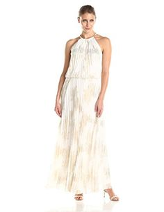 MSK Womens Gold Chain Halter Neck Maxi Woven Pleated Dress with Foil Metallic Printed Pattern IvoryGold 12 ** Details can be found by clicking on the affiliate link Amazon.com.