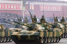 Chinese Army Type 88 tanks rolling through Tiananmen Square in the 1999 Chinese National Day Parade. Military Armor, Military Coup, Army & Navy, Red Army, Beijing, Military Spending, People's Liberation Army, Military Pictures
