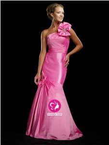 Sirène Épaule asymétrique Traîne courte Robe de soirée en Taffetas avec Perle,Fleurs manuelles(FR0248466)