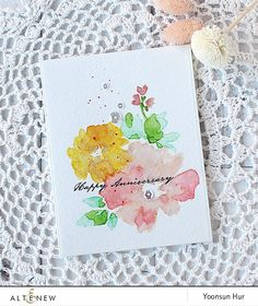 Hello crafty friends, happy Sunday! It's Yoonsun here to share my flower cards using Watercolor Wonders stamp set. You may know how much I love flowers and the Altenew Watercolor Wonders is definitely one of my favourite among all kinds of flower stamps!! For my first card, I made (a kind of) CAS card with …