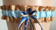 Gold and Blue Wedding Garter, Bridal Garter, Prom Garter, Keepsake Garter by WeddingGarterStore on Etsy